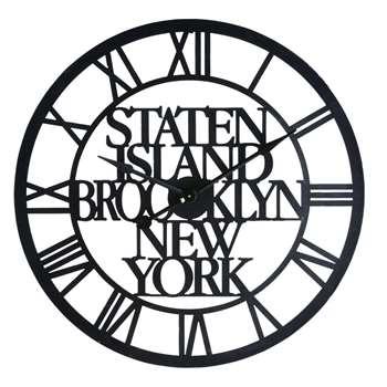 STATEN ISLAND Industrial-Style Black Metal Clock (90 x 90cm)