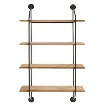 LUCAS Industrial-Style Black Metal Shelving Unit (119 x 70cm)