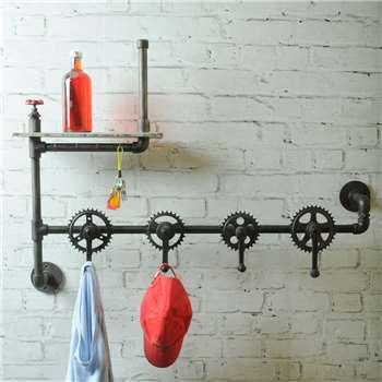Industrial Vintage Bicycle Parts Coat Hook Rack (76 x 107cm)