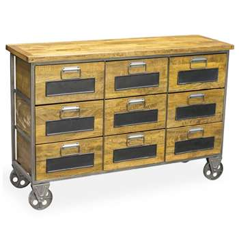 Industrial Vintage Low Apothecary Chest (H84.5 x W127 x D40cm)