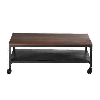 INDUSTRY Solid sheesham wood and metal coffee table on castors (42 x 110cm)