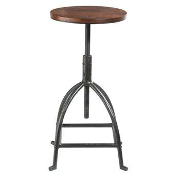 INDUSTRY Solid sheesham wood and metal industrial stool (50 x 32cm)