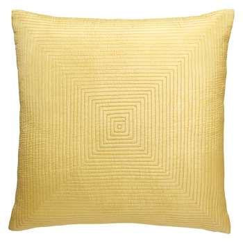 Indy Pale Saffron Yellow Grid-Stitched Silk Cushion (H40 x W40cm)