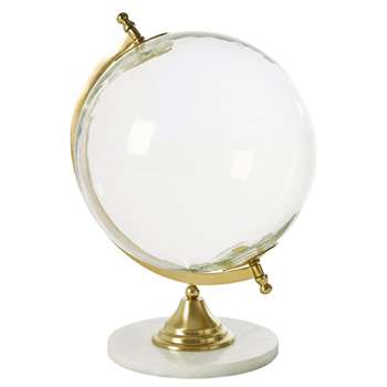 INFINITY Glass and White Marble Globe (H35.5 x W27 x D24.5cm)