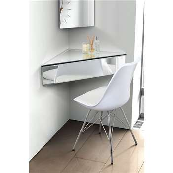 Inga Corner Mirrored Floating Bedside/Shelf/Storage System (H18 x W85 x D60cm)