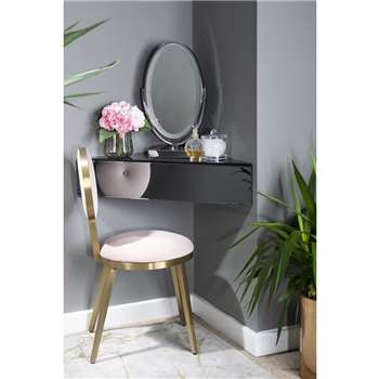 Inga Corner Smoke Mirror Floating Bedside / Shelf / Storage System (H18 x W60 x D60cm)