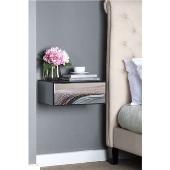 Inga Smoke mirror Floating Bedside / Console / Shelf / Storage System (H18 x W44 x D32cm)