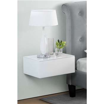 Inga White Floating Bedside Table / Shelf / Storage System (18 x 44cm)