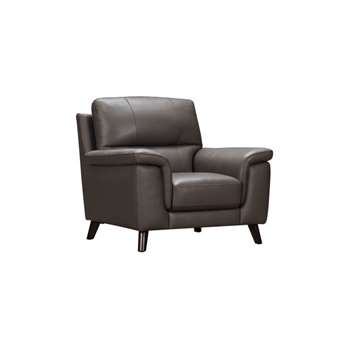 Inspire Espresso Leather Armchair (H93 x W98 x D90cm)