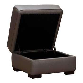 Inspire Espresso Leather Storage Footstool (H43 x W63 x D61cm)