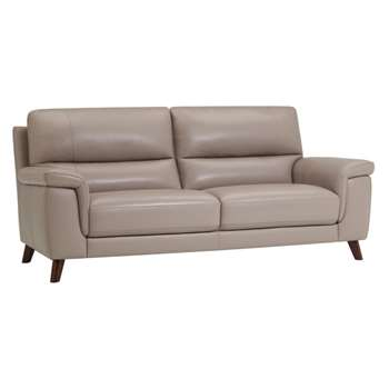 Inspire Grey Leather 3 Seater Sofa (H93 x W200 x D90cm)