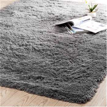 INUIT fabric long pile rug in grey (140 x 200cm)