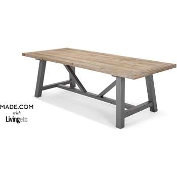 Iona Extra Large Dining Table, Solid Pine and Grey (76 x 240cm)