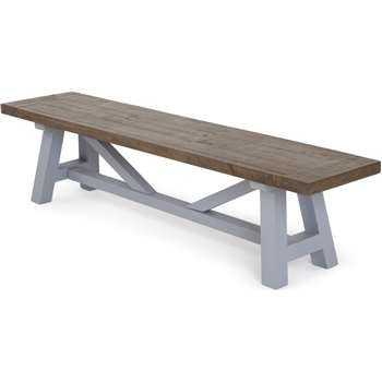 Iona Large Bench, Solid Pine and Pebble Grey (H44 x W180 x D40cm)