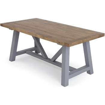 Iona Large Dining Table, Solid Pine and Pebble Grey (76 x 180cm)