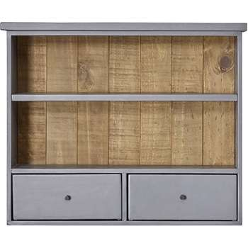 Iona Wall Mounted Shelving Unit, Solid Pine and Pebble Grey (61 x 73cm)