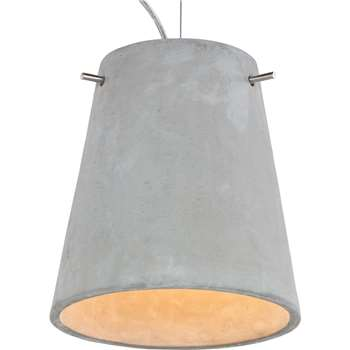 Grey Concrete Pendant Light, Ira (125 x 23.5cm)