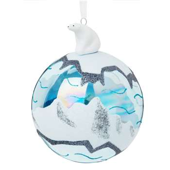 Iridescent Blue Glass Christmas Bauble with Ice Floe Print, Set of 4 (H12.3 x W10 x D10cm)