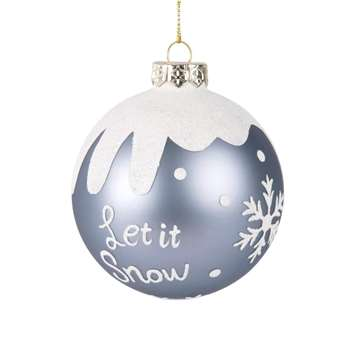 Iridescent Blue Glass Christmas Bauble with Snowy Motifs (H8 x W8 x D8cm)