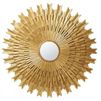 IRINA - Round Aged Effect Gold Mirror (H138 x W138 x D3.5cm)