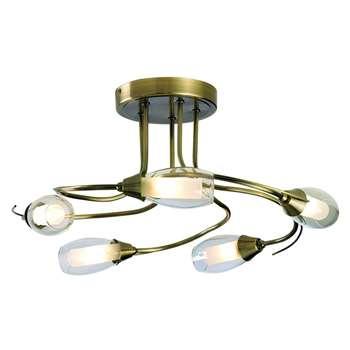 Iris 5 Light Antique Brass Ceiling Light (H23 x W42 x D42cm)