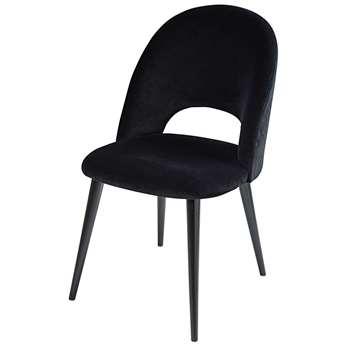 IRIS Black velvet and birch chair (88 x 50cm)