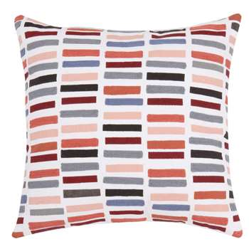 IRIS - Pink and Blue Cotton Cushion Cover with Graphic Print (H40 x W40cm)