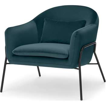 Irma Accent Armchair, Steel Blue Velvet (H73 x W78 x D86cm)