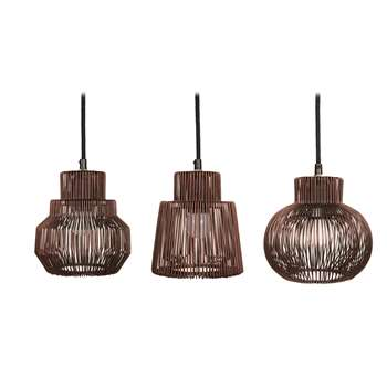 Iron wire copper pendant light set of 3 (H16.5 x W15 x D15cm)