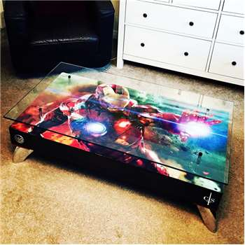 Cappa E Spada - Ironman Coffee Table with Glass Top (H38 x W114.3 x D76.2cm)