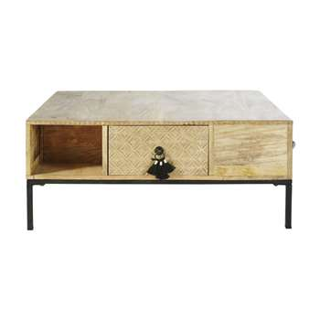 IROQUOIS - Square Solid Mango Wood and Black Metal 4-Drawer Coffee Table (H40 x W90 x D90cm)