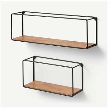 Irving Set of 2 Square Shelves, Mango Wood & Black (H20 x W60 x D14cm)