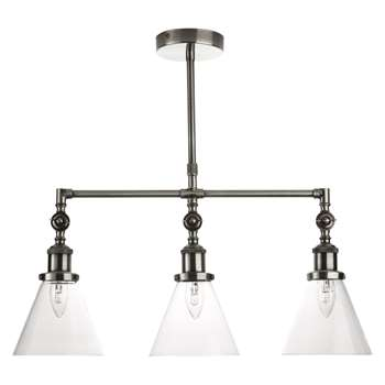 Isaac Bar Semi Flush Chrome Pendant 3 Arm (H74 x W62 x D16cm)