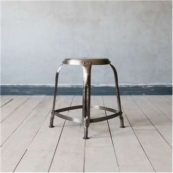 Isaac Nickel Stool (H46 x W36 x D36cm)