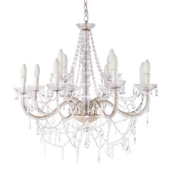 ISABEAU metal 12 branch droplet chandelier in white D 73cm