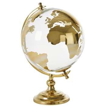 ISABEL - Glass and Gold Metal Globe (H43 x W25 x D25cm)