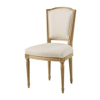 ISADORA Beige Cotton and Solid Oak Chair (H91 x W51 x D55cm)