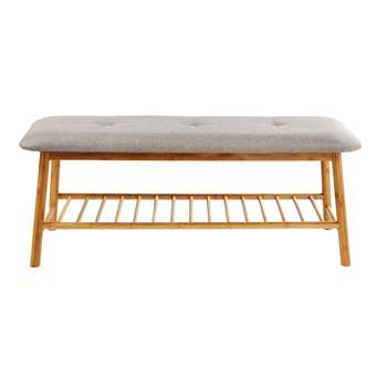 ISALINE Grey Bench with Bamboo Legs (44 x 110.5cm)