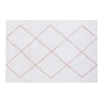 ISMA Ecru Cotton Rug with Pink Graphic Motifs (H120 x W180 x D2cm)