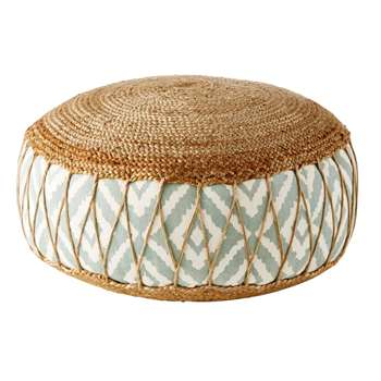 ISNA Jute and Cotton Pouffe with Graphic Motifs (30 x 70cm)