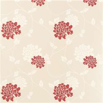 Isodore Linen/Cranberry Floral Wallpaper