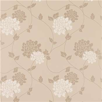 Isodore Truffle Floral Wallpaper