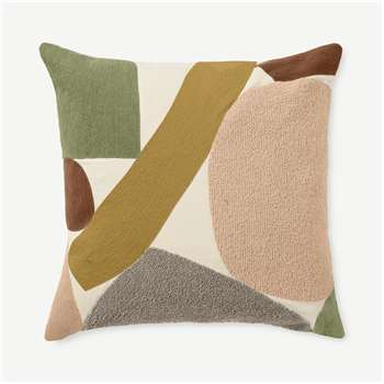 Isola Embroidered Cotton Cushion, Multi (H50 x W50cm)