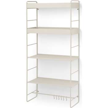 Isolde 4 Tier Interchangeable Wall Mounted Storage Unit, Putty (H132 x W61 x D26cm)