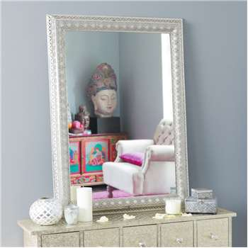 ISTANBUL metal mirror in silver H 95cm
