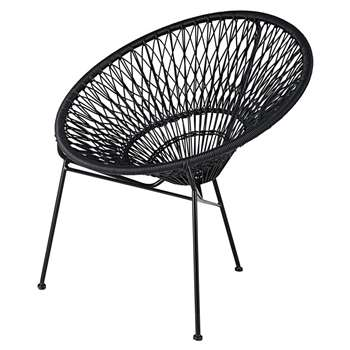 ITAPEMA Stackable Garden Armchair in Resin String and Black Metal (H78 x W72 x D66cm)