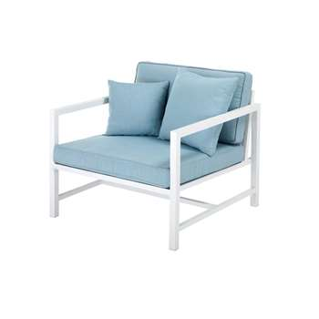 ITHAQUE Garden armchair in white aluminium with light blue cushions (67 x 80cm)