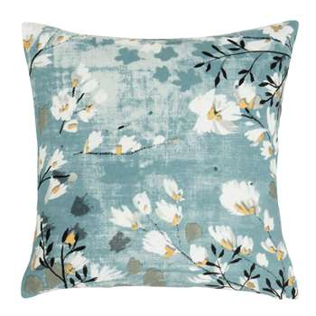 IXELLES - Blue and Ecru Cotton Cushion Cover with Floral Print (H40 x W40cm)