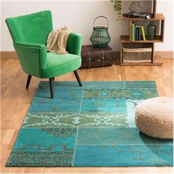 IZMIR woollen rug in blue (140 x 200cm)