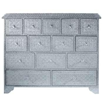 JAÏPUR Silver Indian Cabinet (H100 x W80 x D31cm)